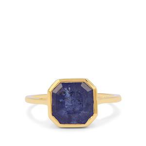 Asscher Cut Tanzanite Ring in 9K Gold 4.25cts