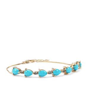 Sleeping Beauty Turquoise Bracelet with  Marambaia London Blue Topaz in 9K Gold 4.56cts
