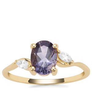 Montezuma Blue Quartz Ring with White Zircon in 9K Gold 1.45cts