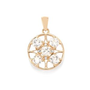Singida Tanzanian Zircon Pendant with Diamond in 10k Gold 2.90cts