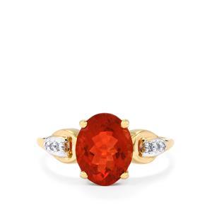 Tarocco Red Andesine & Diamond 10K Gold Ring ATGW 1.93cts
