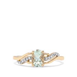 Aquaiba Beryl & Diamond 9K Gold Ring ATGW 0.67cts