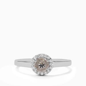 Itinga Petalite & White Zircon Sterling Silver Ring ATGW 0.49ct