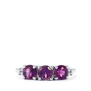 Moroccan Amethyst & White Zircon Sterling Silver Ring ATGW 1.50cts