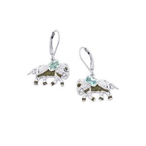 1.29ct Sky Blue Topaz Sterling Silver Earrings
