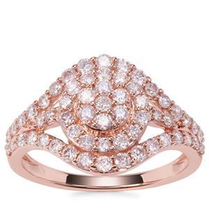 Pink Diamond Ring in 9K Rose Gold 1ct