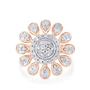 Diamond Ring in Rose Gold Plated Sterling Silver 0.76ct