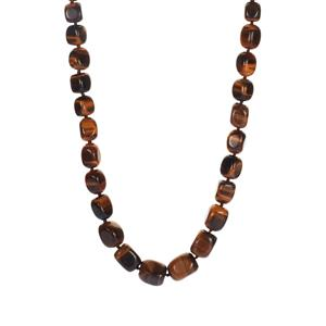 455.70ct Yellow Tiger's Eye Sterling Silver Graduated Necklace