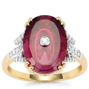 Lehrer TorusRing Malawi Garnet Ring with Diamond in 18K Gold 6.96cts