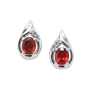 Octavian Garnet & White Zircon Sterling Silver Earrings ATGW 0.90cts