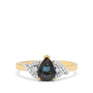 Nigerian Blue Sapphire & Diamond 18K Gold Tomas Rae Ring MTGW 1.07cts