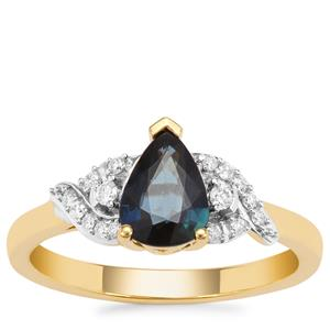 Nigerian Blue Sapphire Ring with Diamond in 18K Gold 1.07cts