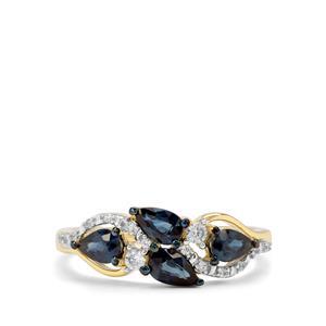 Australian Blue Sapphire & White Zircon 9K Gold Ring ATGW 1.09cts
