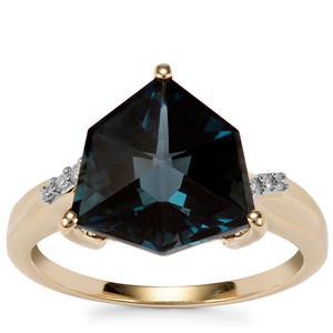 Alpine Cut Marambaia London Blue Topaz Ring with Diamond in 10K Gold 5.59cts
