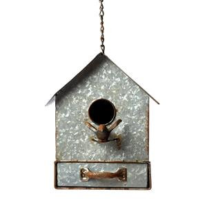 Hanging Metal Bird House and Nesting Box with Feeder Drawer