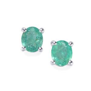 Zambian Emerald Earrings in Sterling Silver 1.07cts