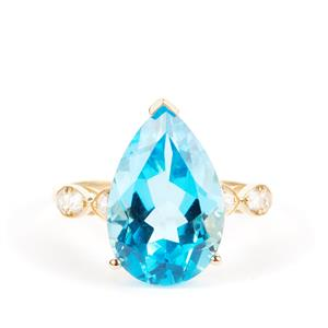 Swiss Blue Topaz Ring with White Zircon in 9K Gold 7.19cts