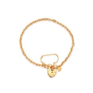 "7.5"" 9K Gold Altro Mariner Padlock Bracelet 2.66g"
