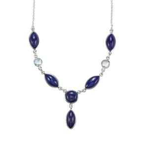 Lapis Lazuli Necklace with Sky Blue Topaz in Sterling Silver 42.31cts