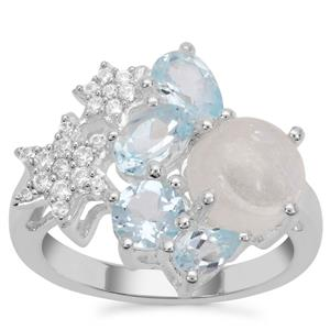 Rainbow Moonstone, Sky Blue Topaz Ring with White Zircon in Sterling Silver 4.64cts