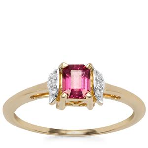 Comeria Garnet Ring with White Zircon in 9K Gold 0.58cts