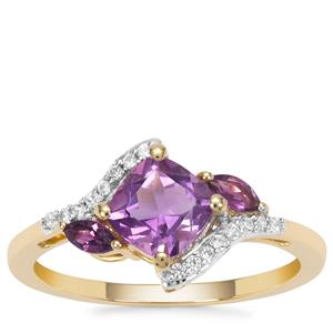 Moroccan Amethyst Ring with Amethyst and White Zircon in 9K Gold 1.18cts