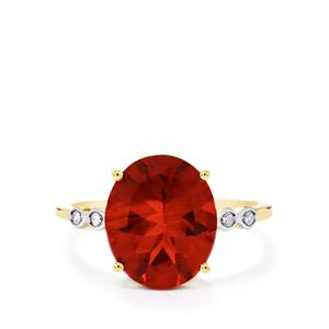 Tarocco Red Andesine & Diamond 10K Gold Ring ATGW 3.38cts