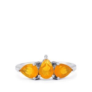 1.38ct AA Honey American Fire Opal Sterling Silver Ring