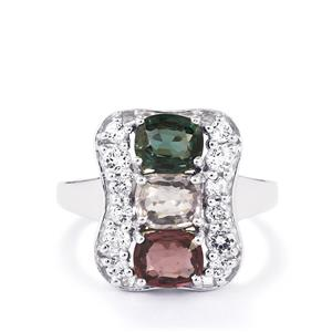 Burmese Multi-Colour Spinel & White Topaz Sterling Silver Ring ATGW 3.17cts