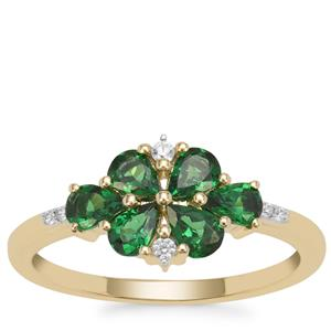Tsavorite Garnet Ring with White Zircon in 9K Gold 1cts