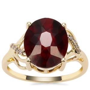 Gooseberry Grossular Garnet Ring with Champagne Diamond in 9K Gold 5.48cts