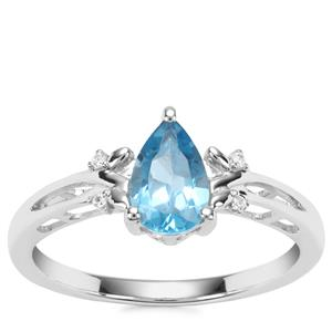 Swiss Blue Topaz Ring with White Zircon in Sterling Silver 1.12cts