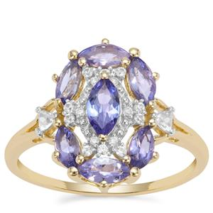 AA Tanzanite Ring with White Zircon in 9K Gold 1.33cts
