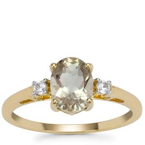 Peacock Parti Oregon Sunstone Ring with White Zircon in 9K Gold 1.24cts