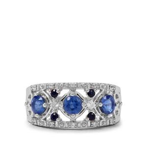 Nilamani, Thai Sapphire & White Zircon Sterling Silver Ring ATGW 1.24cts