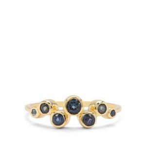 Nigerian Blue Sapphire, Sky Blue & Marambaia London Blue Topaz 9K Gold Ring ATGW 0.52ct
