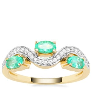 Colombian Emerald Ring with White Zircon in 9K Gold 0.87cts