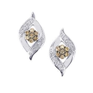 1/2ct Champagne & White Diamond 9K White Gold Earrings