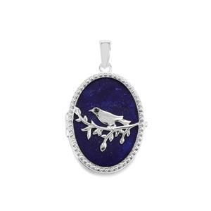 Sar-i-Sang Lapis Lazuli & Black Spinel Sterling Silver Locket ATGW 19.56cts