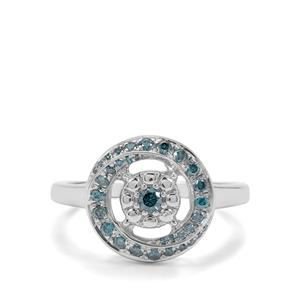 1/3ct Blue Diamond Sterling Silver Ring