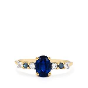Daha Kyanite, Sri Lankan White & Blue Sapphire 9K Gold Ring ATGW 1.26cts