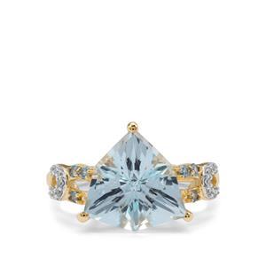 Sky BlueTopaz, Marambaia London Blue Topaz Ring with White Zircon in 9K Gold 5.98cts