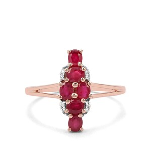 Burmese Ruby & White Zircon 9K Rose Gold Ring ATGW 1.14cts