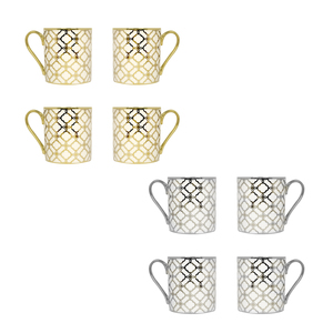 Link Design Set of 4 Mugs Available in Gold & Platinium