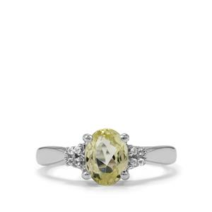 Canary Kunzite Ring with White Topaz in Sterling Silver 1.67cts