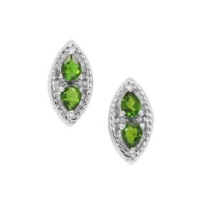 Chrome Diopside Earrings with White Zircon in Sterling Silver 0.75ct