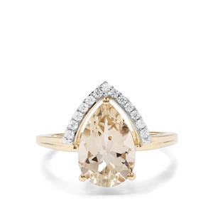 Serenite & White Zircon 9K Gold Ring ATGW 2.77cts