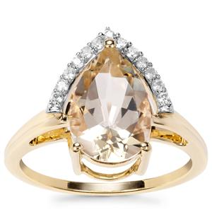 Serenite Ring with White Zircon in 9K Gold 2.77cts