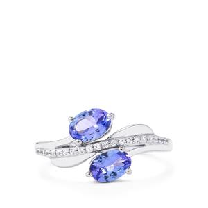 AA Tanzanite Ring with White Zircon in Platinum Plated Sterling Silver 1.31cts
