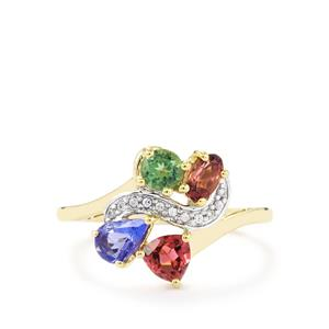 Harlequin Gems Ring in 10K Gold 1.26cts
